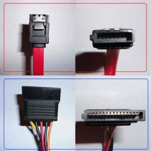 Разъем передачи данных Serial ATA (обведенный красным) и питания Serial ATA (обведенный синим)